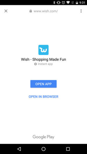 Wish instant app screen