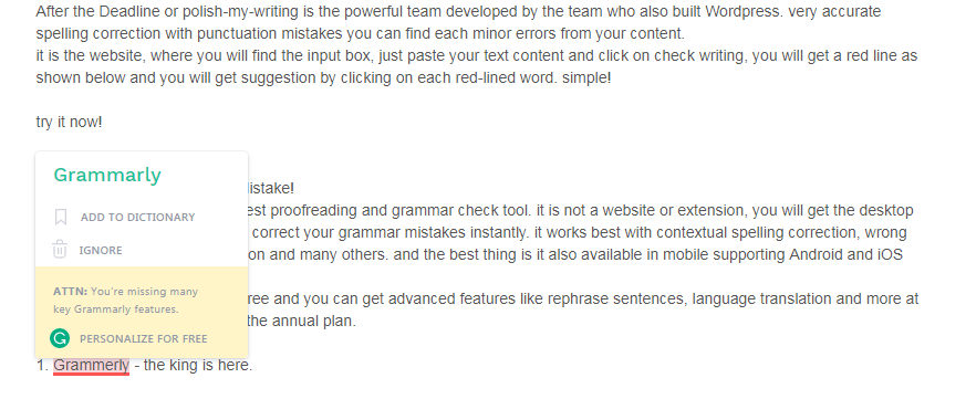 grammarly tool example