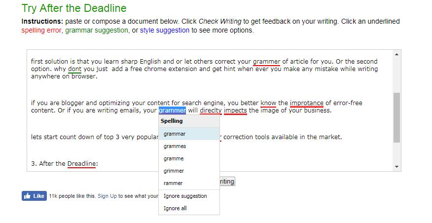 screenshot of deadline tool